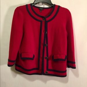 Talbots petite small cropped cardigan red & navy